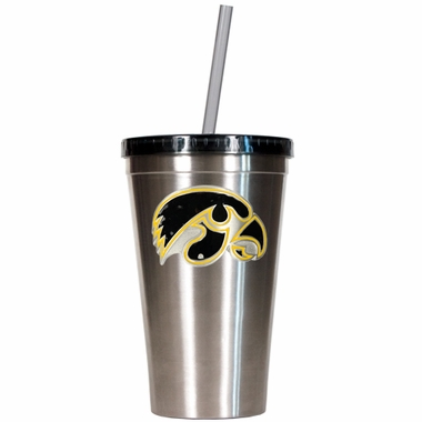 Iowa 16oz Stainless Steel Insulated Tumbler with Straw