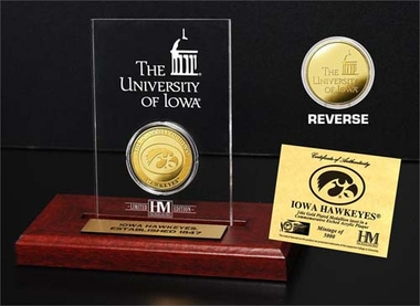 Iowa Hawkeyes University of Iowa 24KT Gold Coin Etched Acrylic