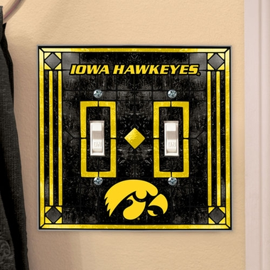 Iowa Art Glass Lightswitch Cover (Double)