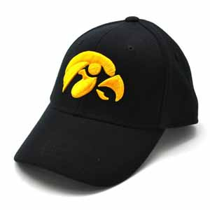 Iowa Black Premium FlexFit Baseball Hat - Small / Medium