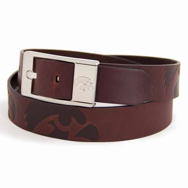Iowa Brown Leather Brandished Belt
