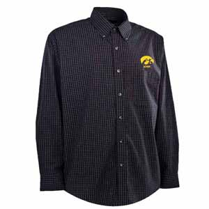 Iowa Mens Esteem Check Pattern Button Down Dress Shirt (Team Color: Black) - Medium