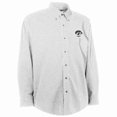 Iowa Mens Esteem Check Pattern Button Down Dress Shirt (Color: White)