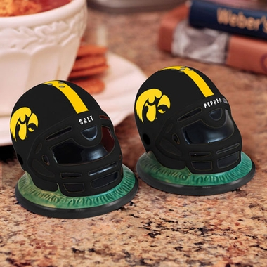 Iowa Helmet Ceramic Salt and Pepper Shakers