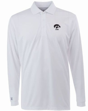 Iowa Mens Long Sleeve Polo Shirt (Color: White)