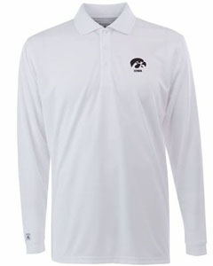 Iowa Mens Long Sleeve Polo Shirt (Color: White) - Small