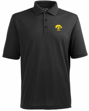 Iowa Mens Pique Xtra Lite Polo Shirt (Team Color: Black)