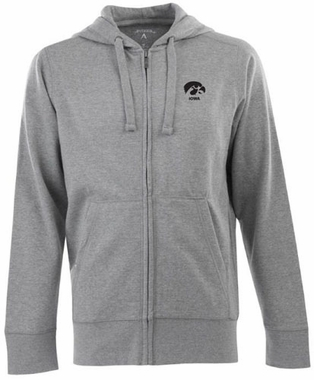 Iowa Mens Signature Full Zip Hooded Sweatshirt (Color: Gray)