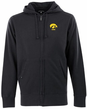 Iowa Mens Signature Full Zip Hooded Sweatshirt (Team Color: Black)
