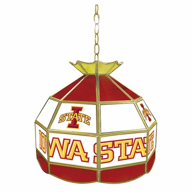 Iowa State 16 Inch Diameter Stained Glass Pub Light