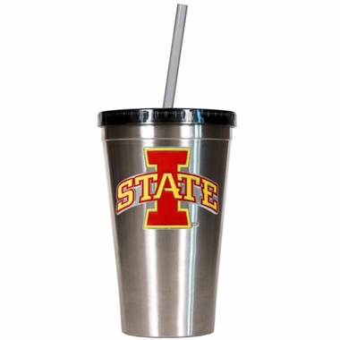 Iowa State 16oz Stainless Steel Insulated Tumbler with Straw
