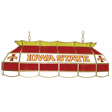 Iowa State 40 Inch Rectangular Stained Glass Billiard Light