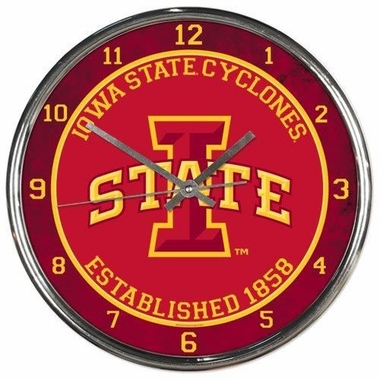 Iowa State Chrome Clock