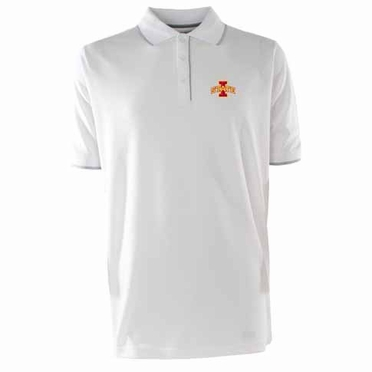 Iowa State Mens Elite Polo Shirt (Color: White)