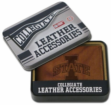 Iowa State Embossed Leather Bifold Wallet