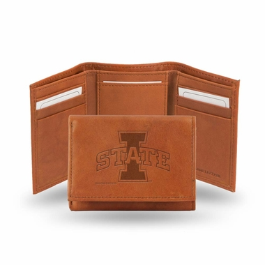 Iowa State Embossed Leather Trifold Wallet