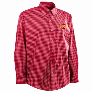 Iowa State Mens Esteem Check Pattern Button Down Dress Shirt (Team Color: Red)