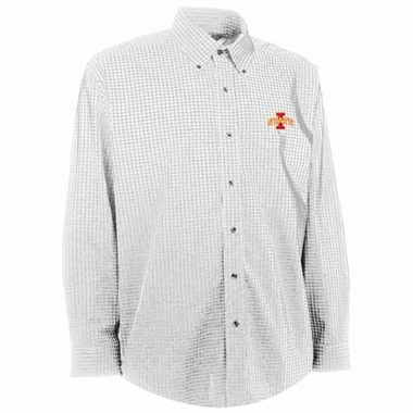 Iowa State Mens Esteem Check Pattern Button Down Dress Shirt (Color: White)