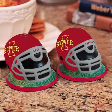 Iowa State Helmet Ceramic Salt and Pepper Shakers