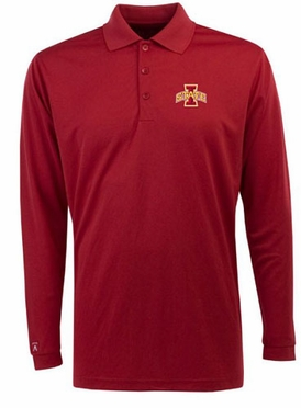 Iowa State Mens Long Sleeve Polo Shirt (Team Color: Red)