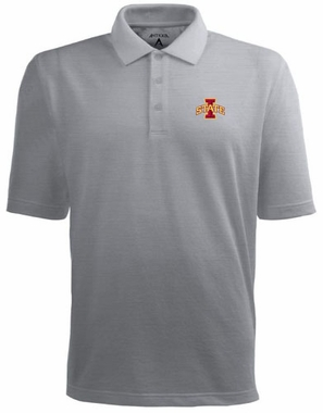 Iowa State Mens Pique Xtra Lite Polo Shirt (Color: Gray)
