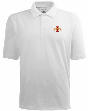 Iowa State Mens Pique Xtra Lite Polo Shirt (Color: White)