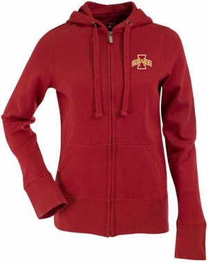 Iowa State Womens Zip Front Hoody Sweatshirt (Team Color: Red)