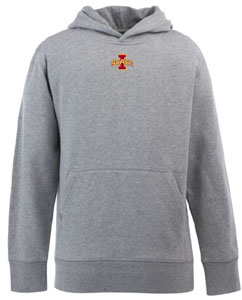 Iowa State YOUTH Boys Signature Hooded Sweatshirt (Color: Gray) - Large