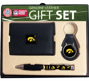 Iowa Trifold Wallet Key Fob and Pen Gift Set