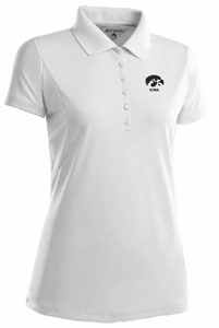 Iowa Womens Pique Xtra Lite Polo Shirt (Color: White) - Large