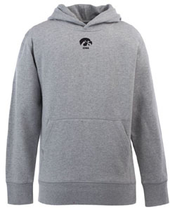 Iowa YOUTH Boys Signature Hooded Sweatshirt (Color: Gray) - Large