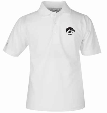 Iowa YOUTH Unisex Pique Polo Shirt (Color: White)