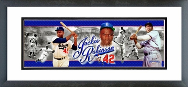 Jackie Robinson - Framed / Double Matted Photoramic