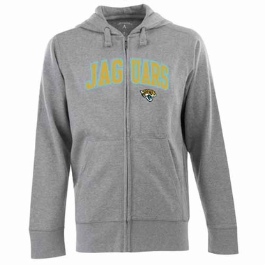 Jacksonville Jaguars Mens Applique Full Zip Hooded Sweatshirt (Color: Gray)