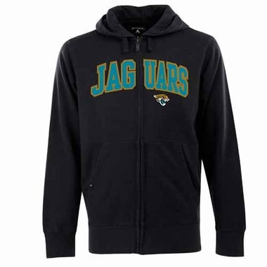 Jacksonville Jaguars Mens Applique Full Zip Hooded Sweatshirt (Color: Black)
