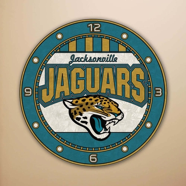 Jacksonville Jaguars Art Glass Clock