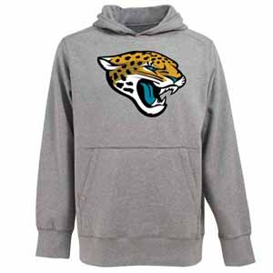 Jacksonville Jaguars Big Logo Mens Signature Hooded Sweatshirt (Color: Gray) - Medium