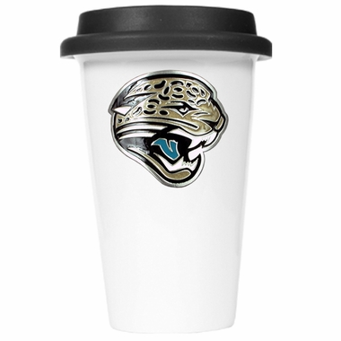 Jacksonville Jaguars Ceramic Travel Cup (Black Lid)