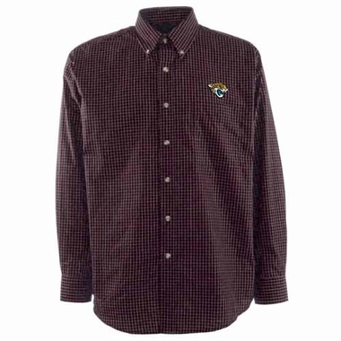 Jacksonville Jaguars Mens Esteem Check Pattern Button Down Dress Shirt (Team Color: Black)