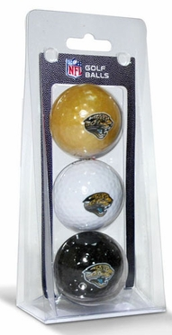 Jacksonville Jaguars Set of 3 Multicolor Golf Balls