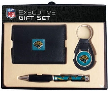 Jacksonville Jaguars Trifold Wallet Key Fob and Pen Gift Set