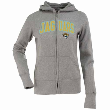 Jacksonville Jaguars Applique Womens Zip Front Hoody Sweatshirt (Color: Gray)