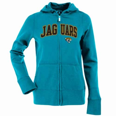 Jacksonville Jaguars Applique Womens Zip Front Hoody Sweatshirt (Color: Teal)