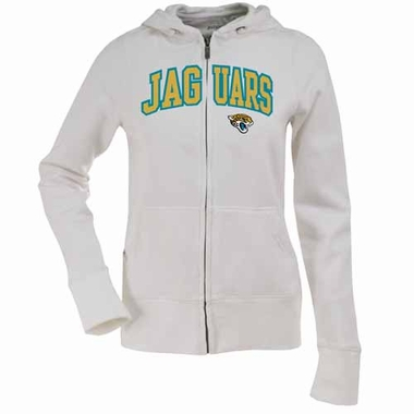 Jacksonville Jaguars Applique Womens Zip Front Hoody Sweatshirt (Color: White)