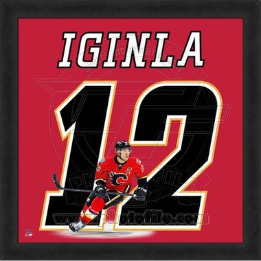 "Jarome Iginla, Flames UNIFRAME 20"" x 20"""