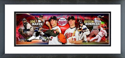 Joe Mauer & Justin Morneau 2008 Framed / Double Matted Photoramic
