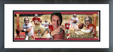 Joe Montana - Framed / Double Matted Photoramic
