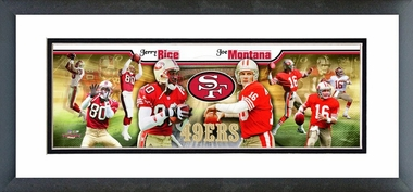 Joe Montana & Jerry Rice Framed / Double Matted Photoramic
