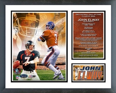 John Elway - 2004 Pro Football Hall Of Fame Induction Commemerative - Framed Milestones & Memories