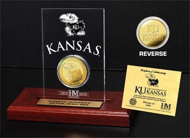 Kansas Jayhawks University of Kansas 24KT Gold Coin Etched Acrylic
